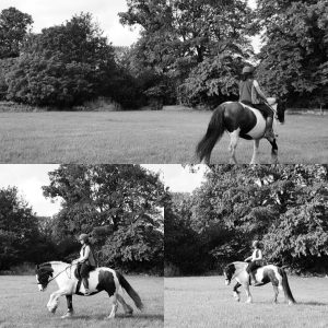 Black and white images of horse riding