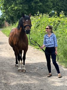 Sharon and Riley her cheeky pony enjoy a walk together