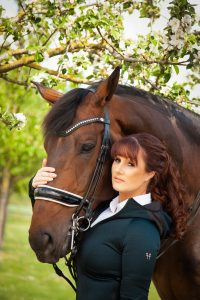 Amelia White and her dressage horse Genius