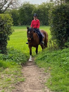 Sharon Howe and Riley out hacking