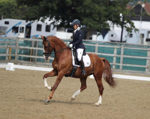 image of Sarah Rogers anmd Bumble in canter